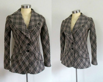 Mod Fitted Blazer Wide Lapel Jacket Vintage 1970s Russ Black White Beige Plaid Size Small