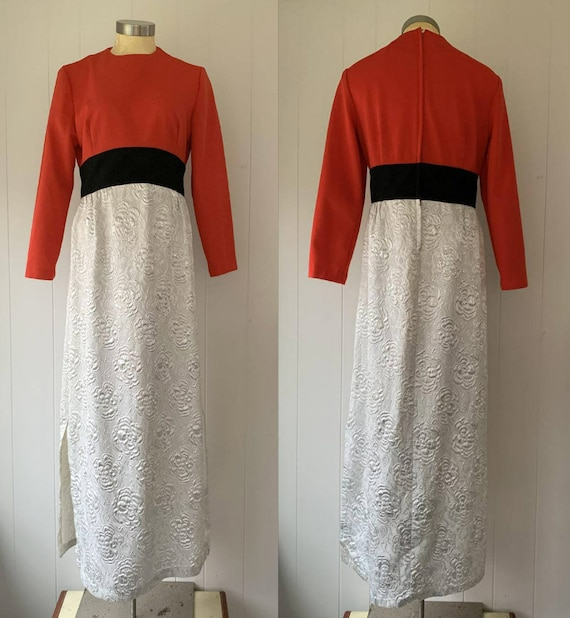1970s Red Black Silver Lame Maxi Dress