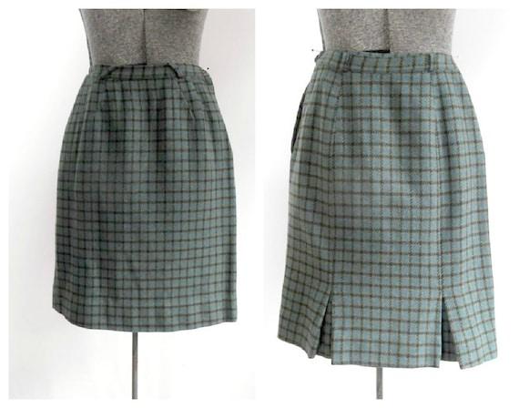 Vintage Houndstooth Wool Skirt / 1950s 1960s Mid C