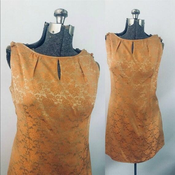 Malia Mid Century 1960s Brocade Mini Dress