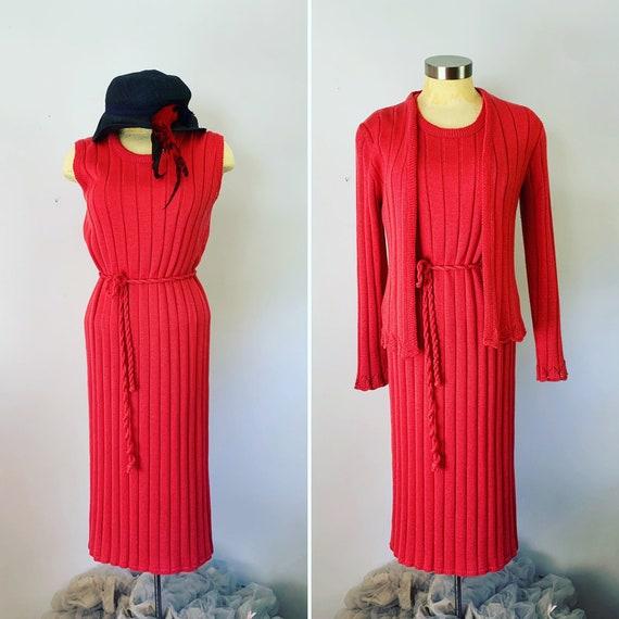 Two Piece Sweater Dress // Ribbed Knit Sleeveless