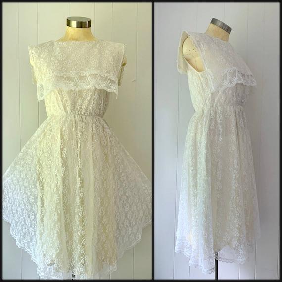Gunne Sax Antique White Lace Dress