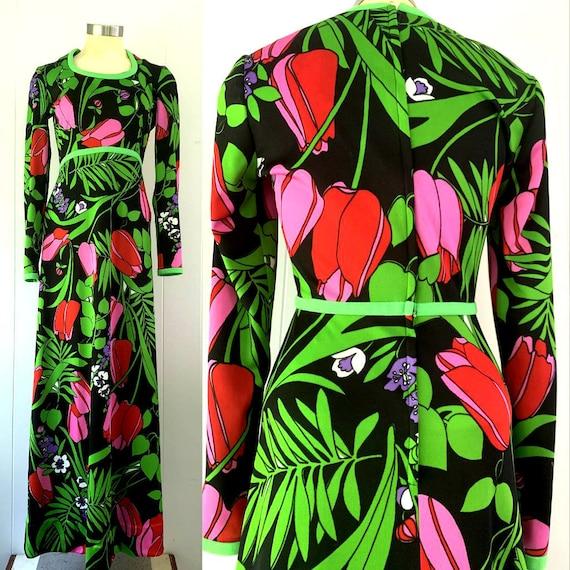 1970s Black Mod Floral Maxi Dress