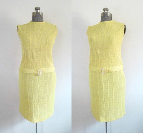 Mid Century Designer Two Piece Skirt Top Set Yello