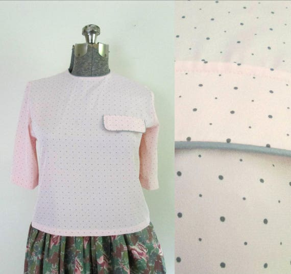 1980s Pink and Gray Polka Dot Blouse // Evan-Picon