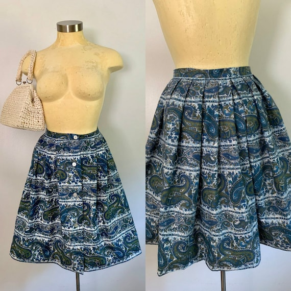 1960s Cotton Paisley Rockabilly Skirt // Vintage C