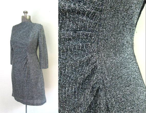 Black Silver Lame Dress  Long Sleeve Ruched Bodycon