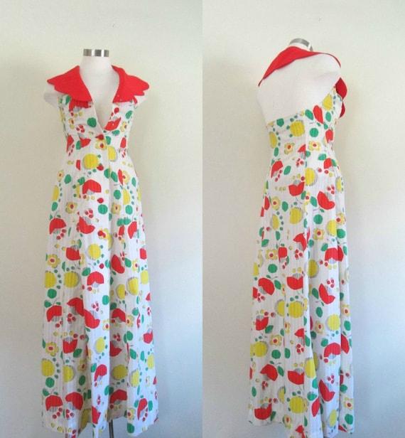 Halter Backless Summer Maxi Dress Vintage 1960s Mo
