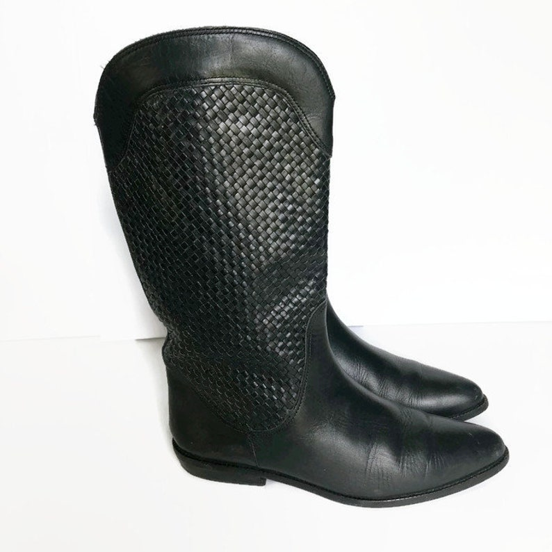 c2e4c1cb55a6 Black Boots Black Leather Boots Flat boots Flats Woven leather