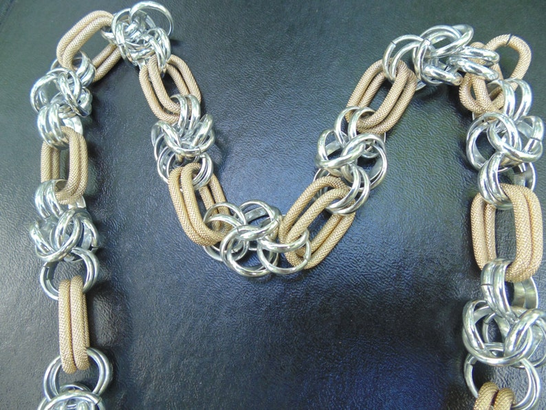 2 tone necklace Chain Necklace Silver Gold Necklace Chunky Necklace Textured Metal Chunky Chain
