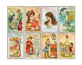 Perfume Cologne Advertising Card Stickers, Collage Card Making Art Paper, 8 Apothecary Label Decals, Victorian Bathroom Decor Labels, 848