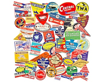 c7ddb923a Travel Journal Collage Stickers, Airplane Luggage Labels, 3 Sheets, Mixed  Media Art, 57 Pcs Airline Baggage Tag Set, Suitcase Decals, P36