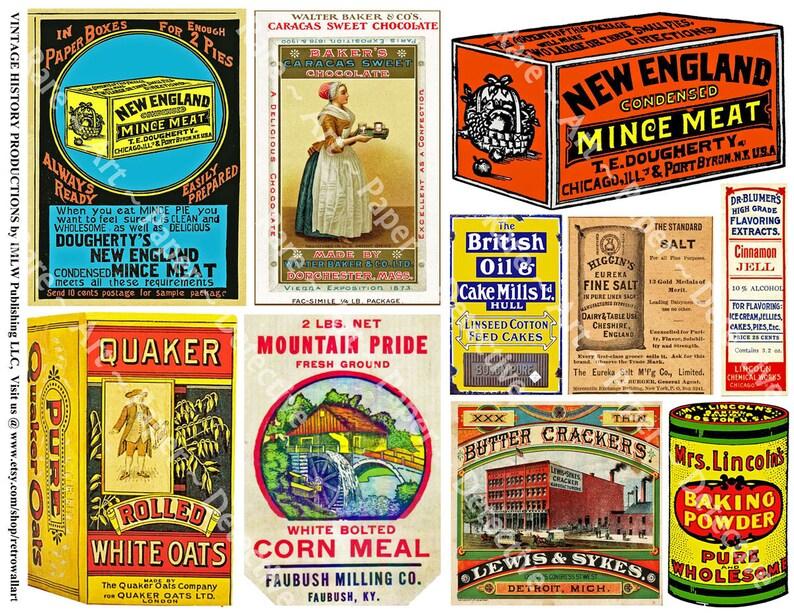 20 Pcs Vintage Kitchen Advertising Sticker Set on 2 Sheets Kitchen Decoration Amazing Assortment of Note Book /& Junk Journal Graphics P21