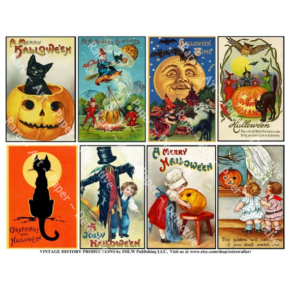 Halloween Decoration, Vintage Halloween Stickers, Spooky Clip Art, Black  Cats, Antique Pumpkin Collage Paper, Halloween Party Novelty, 637