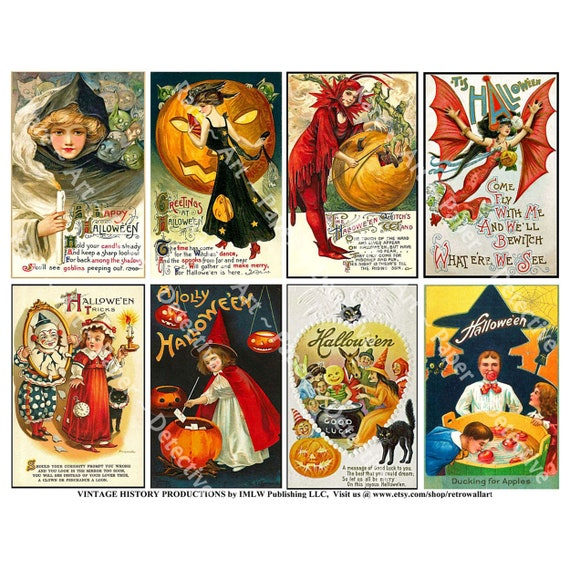 Halloween Vintage Tags Glossy Finish Card Topper