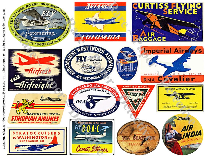 Printed Airplane Sticker Decals Plane Clip Art Airline Luggage Labels Travel Journal Suitcase Stickers Travel Trunk 126a Flight Labels