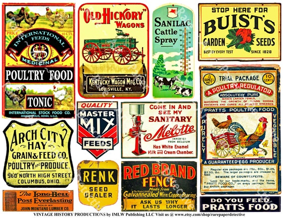 Farm Art Paper, PRINTED Sheet, Agriculture Graphics, Poultry Food, Milk  Machine, Cream Separator, Feed Sign, Veterinary Ad, Horse Wagon, 736