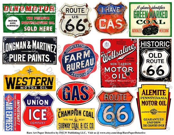 0561cf2dc92 Old Rusty Metal Signs Printed Sheet 15 Weathered Tin Signs