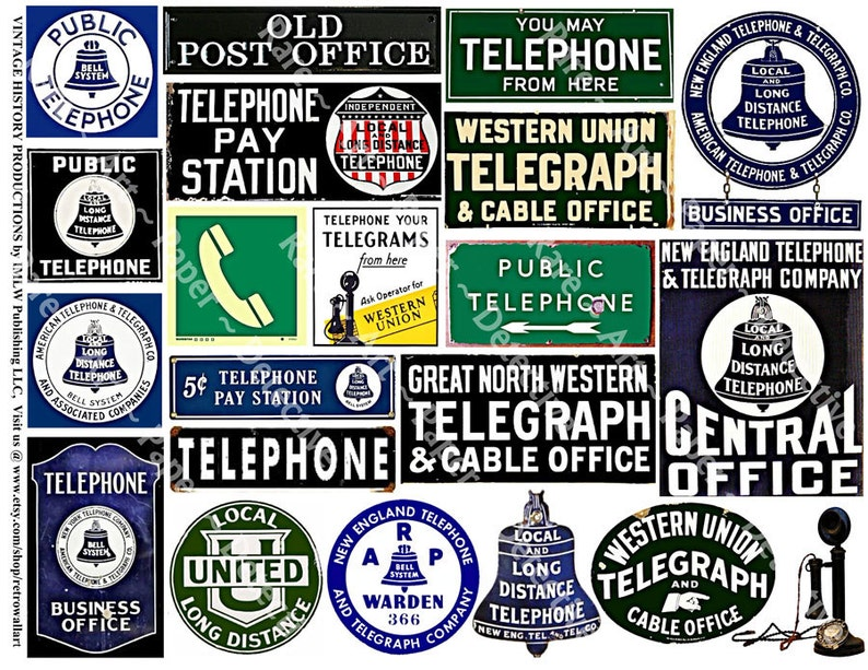 Telephone Telegraph Signs Printed Sheet Vintage Travel Etsy