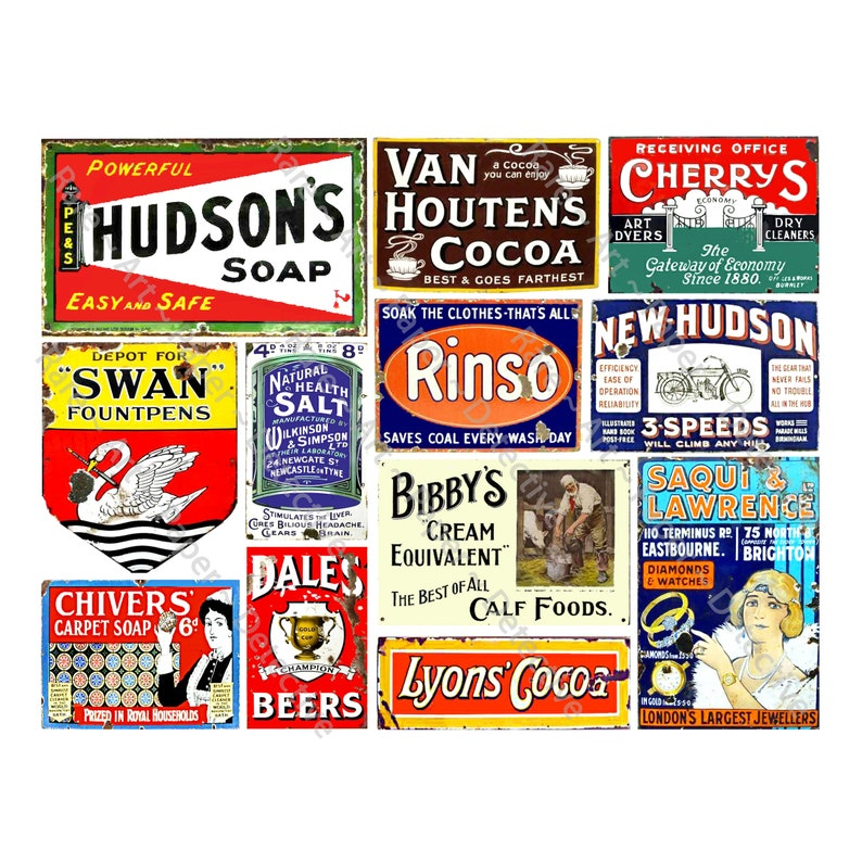 12Pcs Old Rusty Metal Tin Advertising Signs General Store Advertising 716A Model Train Signs Sticker Sheet Antique Metal Sign Collage