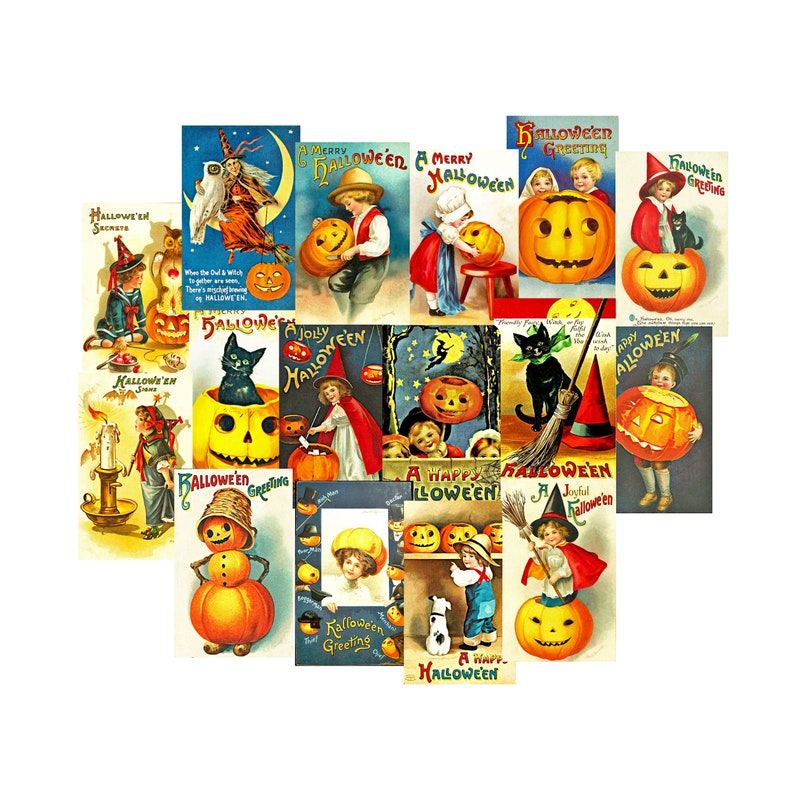 16 Vintage Spooky Halloween Decorations Halloween Postcard Party Novelty Halloween Stickers Antique Pumpkin Collage Paper 2P43 2 Sheets