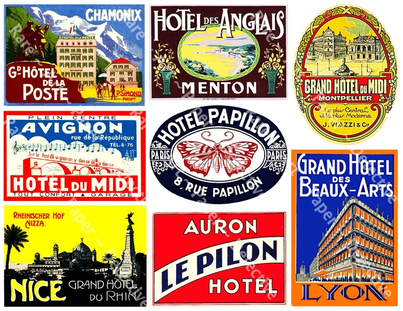 France Collection Hotel Luggage Labels 8 PRINTED Stickers Travel Baggage  Label Suitcase Stickers Travel Trunk Decals French Stickers, 420