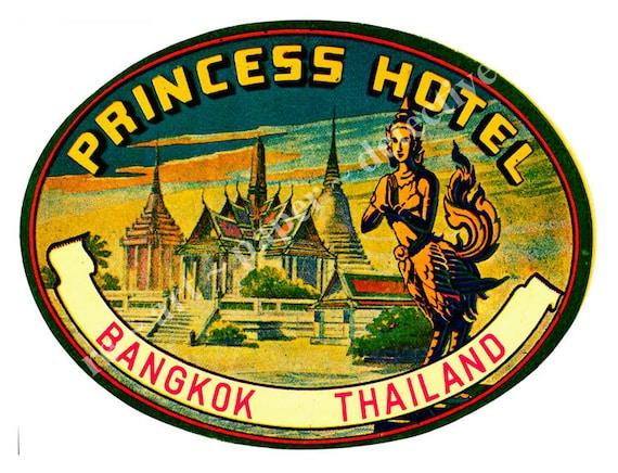 Hotel luggage label sticker bangkok thailand travel trunk