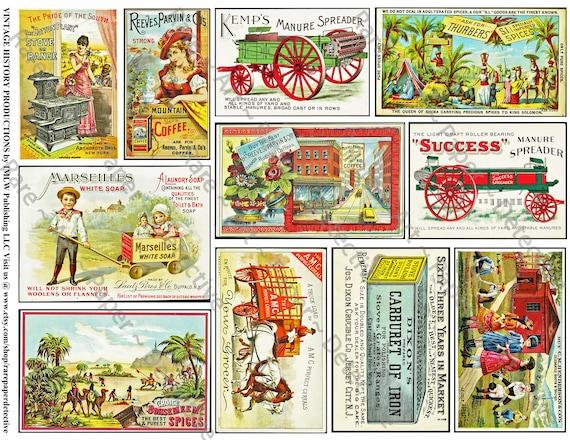 Victorian Era Trade Cards Printed Sheet Vintage Ads Kitchen Etsy