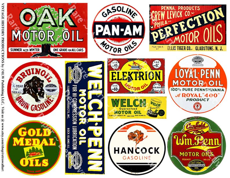 Oil Can Stickers, Printed Garage Clip Art, Gas, Fuel, Motor Oil Stickers,  Garage Signs, Gas Can, Service Station Rusty Metal Signs, 492