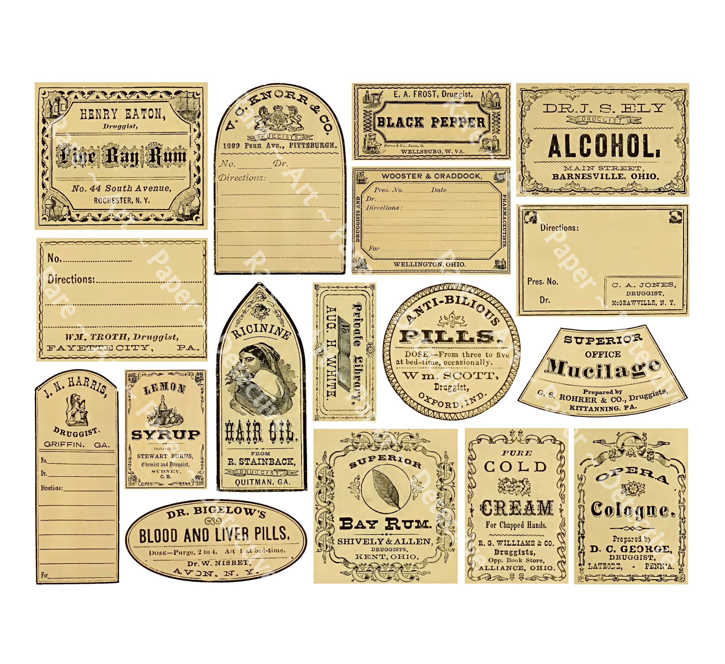17 apothecary sticker labels vintage pharmacy potion jar stickers bathroom bottle decorations druggist art paper antique drug store 863