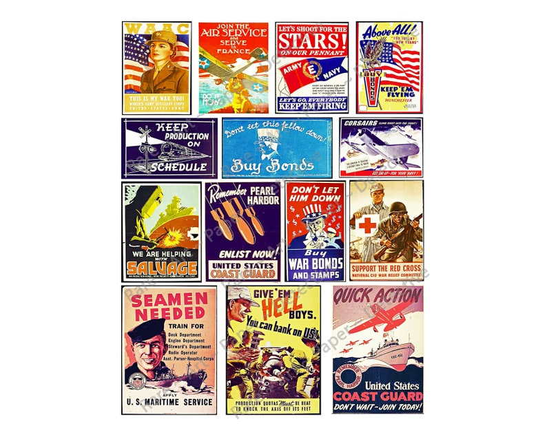 PRINTED Vintage World War Two Military Service Posters Scrapbook and Paper  Art Ephemera Embellishment 14 Old Patriotic Collage Images 271a