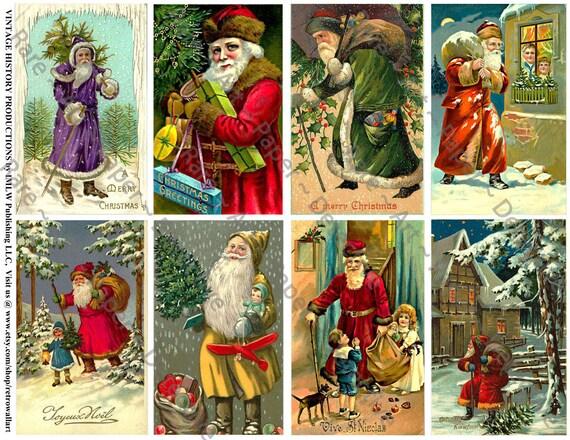 Weihnachtskarten gedruckt Jahrgang Santa Claus Karten   Etsy