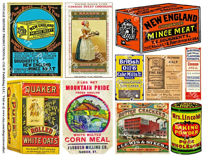 Kitchen Decor Art Paper Advertising, Printed Sheet, Vintage Labels, General  Store, Antique Pantry & Grocery Signs, Country Kitchen Art, 605