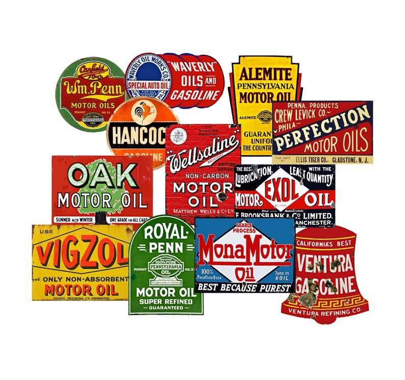 Gift Set of 12 Stickers, Oil & Gas Can Labels, Colorful Car Enthusiast  Decals for Party Decor, Planners, Tool Boxes, Garage Art and More! G1