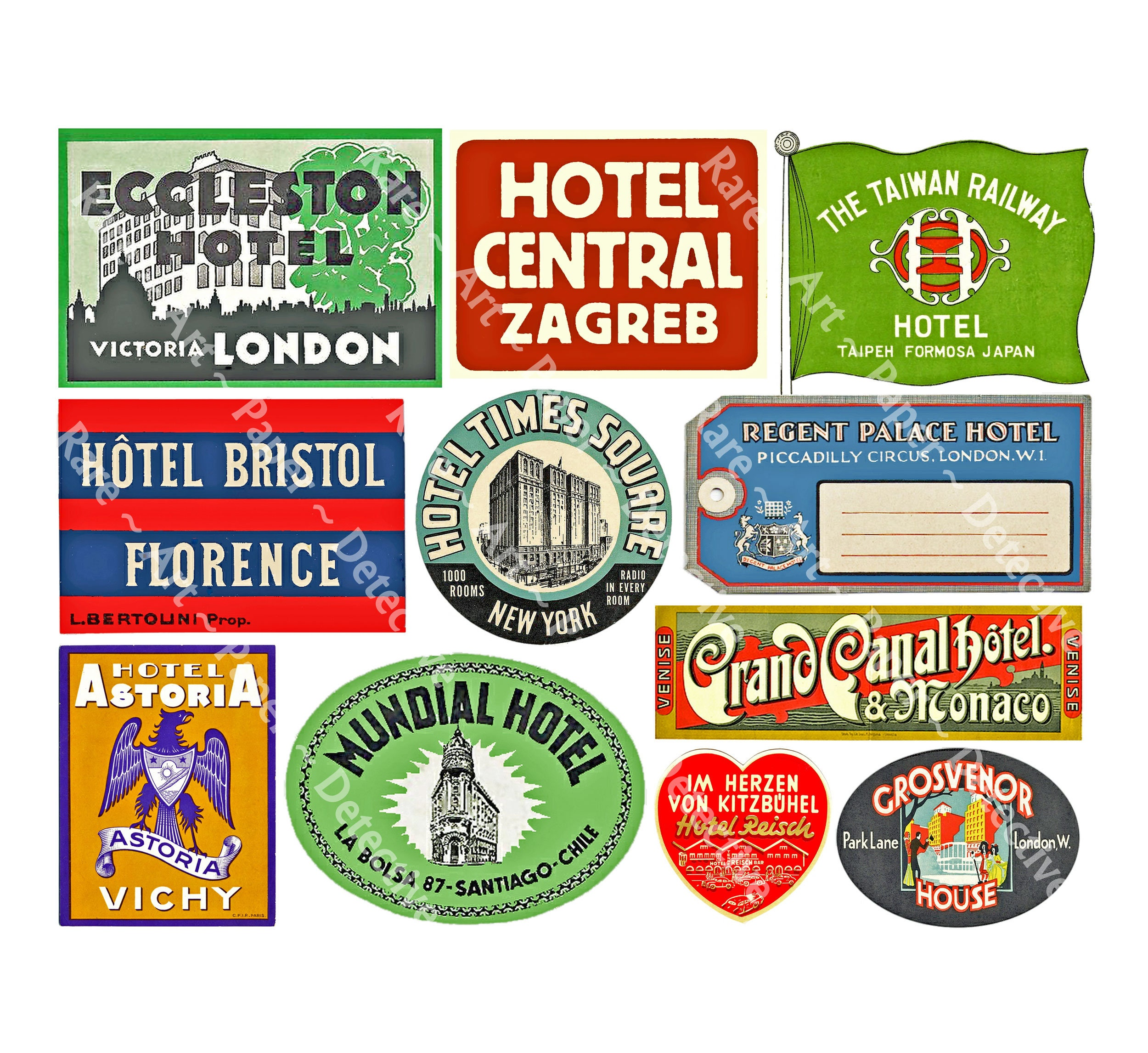 3feb8095e4a3 Travel Label Stickers, Hotel Luggage Tags, Printed Sheet, Baggage Decals,  Vintage Trip Journal Tags, Retro Travel Trunk Decal Stickers, 454c
