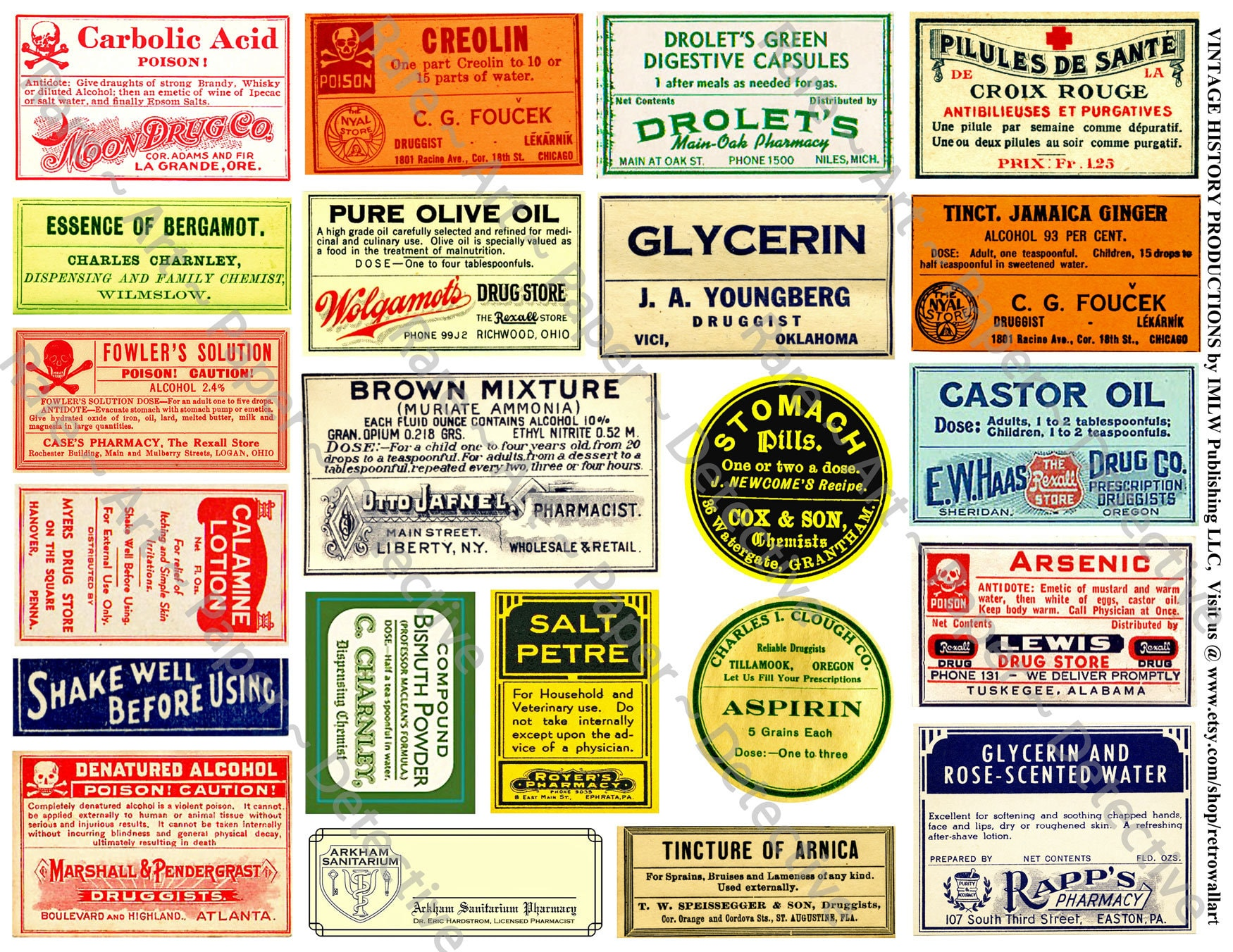 Bathroom Decor Apothecary Labels Printed Sheet Antique Etsy