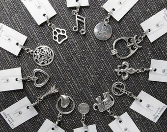 Metal zipper pull charms for DIY gift - handmade sewing supply - zipper pull for purses make personalized bags for women