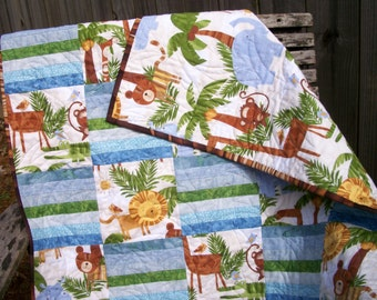 Jungle Baby Quilt Blue Green Brown In the Jungle Animals Quilted Quiltsy FREE U.S. Shipping