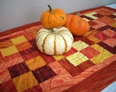 Fall Table Runner Topper Nature Sunset Metallic Gold Yellow Orange Rust Quilt Quilted Gold Quiltsy Handmade FREE U.S. Shipping Autumn