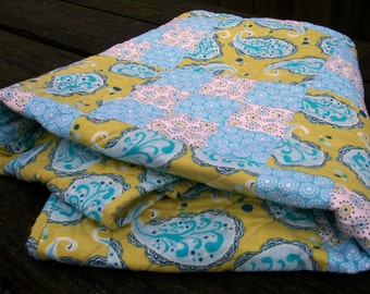 Paisley Baby Quilt Gender Neutral Green Blue Crib Quilt Quilted Baby Bedding Quiltsy Handmade FREE U.S. Shipping