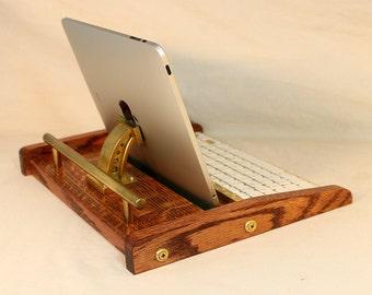 iPad Workstation - Keyboard - Tablet  Dock  - Steampunk V1- Oak -  iPad, IPhone, Tablet Bluetooth Keyboard Computer Desktop Workstation