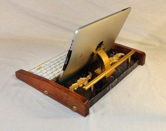 iPad Workstation - Keyboard - Tablet  Dock  - Victorian Marble Steampunk - Oak - Desktop Workstation - iPad Stand