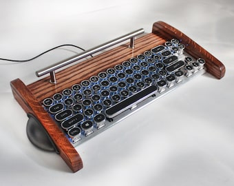 Computer Mechanical Gaming Keyboard - Cherry switches - 68 Key LED Lighting - Antique looking Victorian Retro Style - Steampunk - Typewriter
