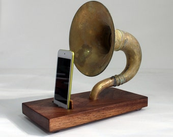 The Horn-A-Phone - iHorn -- Large Brass  Acoustic  Speaker Upright Horn Dock - Acoustic Speaker System Docking Station  CHERRY only - Patina