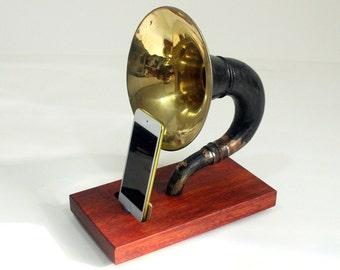 The Horn Phone - iHorn -- Large Brass  Acoustic  Speaker Upright Horn Dock -- Acoustic Speaker System Docking Station  Bloodwood - Black
