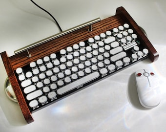 Computer Mechanical Gaming Keyboard with Cherry switches with LED Lighting - Antique looking Victorian Retro Style - Steampunk - Typewriter