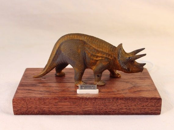 iPhone - iPod Dock -Charger and Sync Station - Oak -  Triceratops - Scary - One of a Kind - Rusty Dinosaur - FREE Shipping