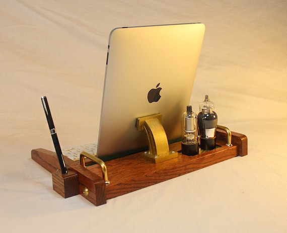 iPad Workstation - Keyboard - Tablet Dock - Tube Model Steampunk - Oak - With Pen Stylist - Desktop Workstation - iPad Tablet Stand