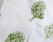 Artichoke flour sack tea towel - green and white dish towel / Housewarming Gift Idea