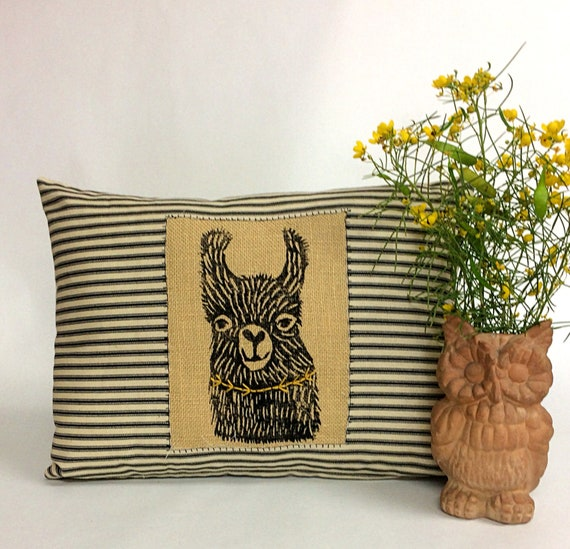Decorative Llama Alpaca Kidney Pillow Hand Printed Etsy Delectable Decorative Kidney Pillows